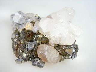 arzenopyrit + kalcit + pyrit