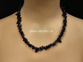 avanturín + modrý, syntetický + náhrdelník sekaný