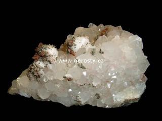 křemen + pyrit + kalcit