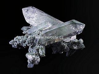 křišťál + anatas + chlorit