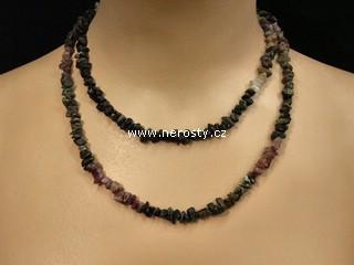 rubelit, verdelit, náhrdelník sekaný