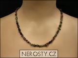 rubelit, verdelit,náhrdelník sekaný