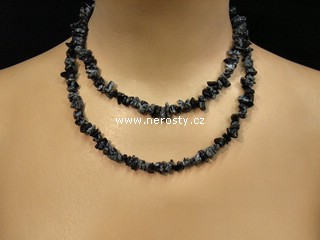 obsidián + náhrdelník sekaný