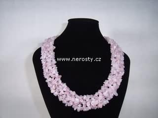 růženín a křišťál + náhrdelník