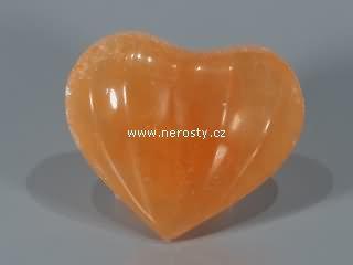 selenit + oranžový + rýhované srdce