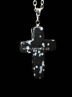 vločkový obsidián + křížek