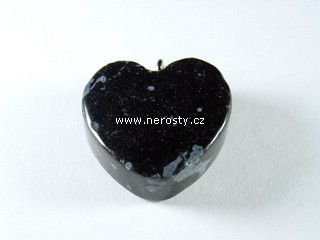 vločkový obsidián + srdce