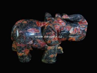 zkamenělé dřevo + slon